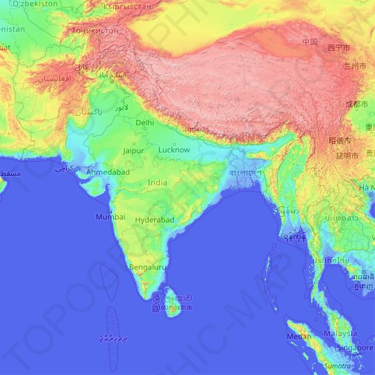 India topographic map, relief map, elevations map