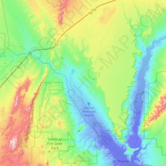 Moapa Valley topographic map, relief map, elevations map