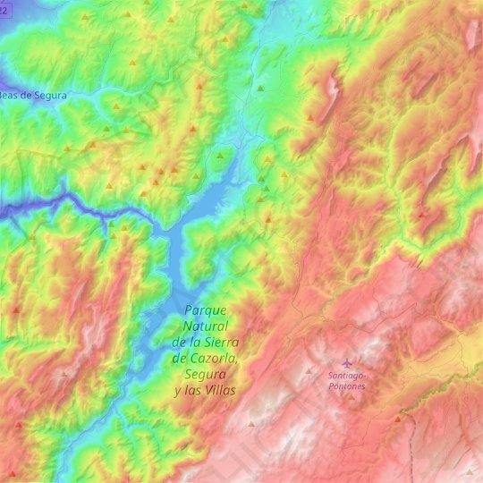 Hornos topographic map, relief map, elevations map