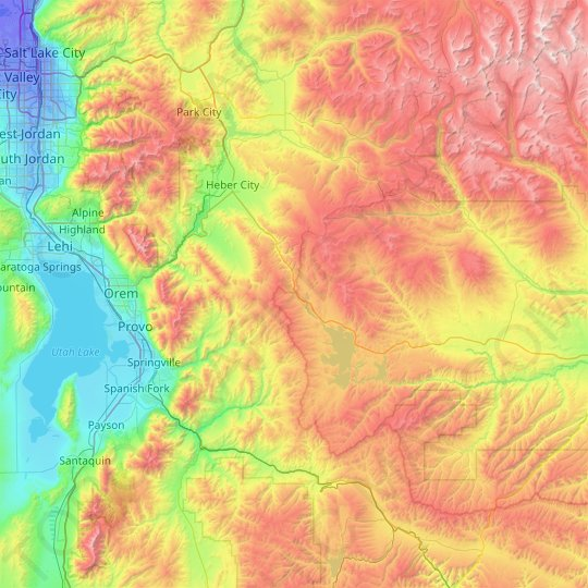 Wasatch County topographic map, relief map, elevations map