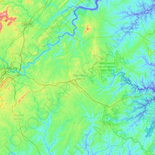 Appomattox County topographic map, relief map, elevations map