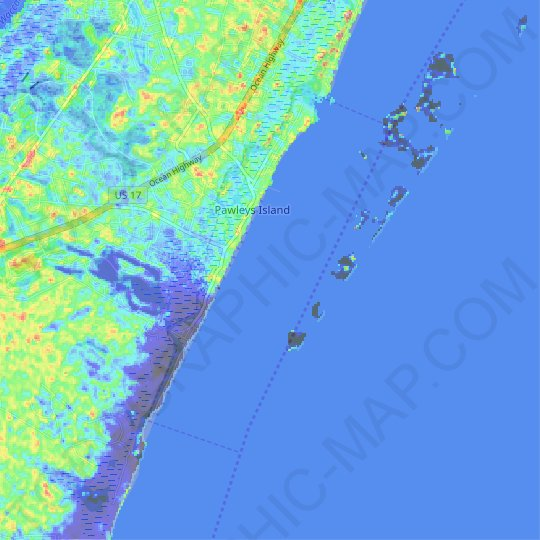 Pawleys Island topographic map, elevation, relief
