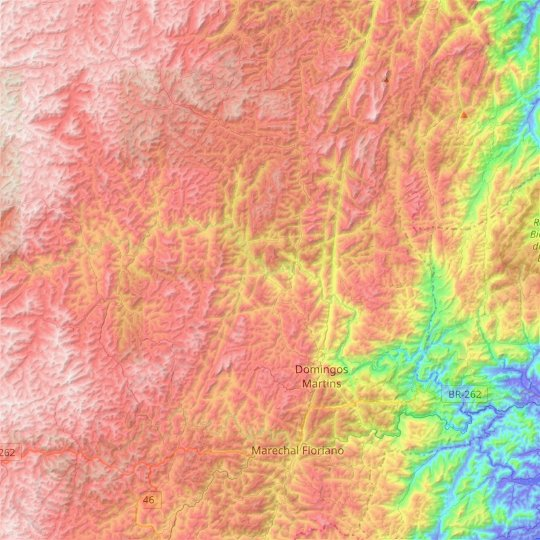 Domingos Martins topographic map, elevation, relief
