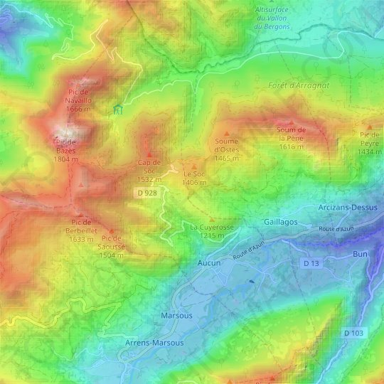 Aucun topographic map, relief map, elevations map