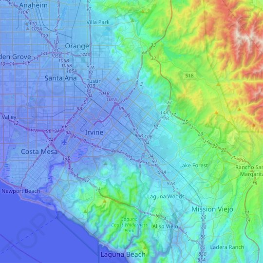 Irvine topographic map, relief map, elevations map