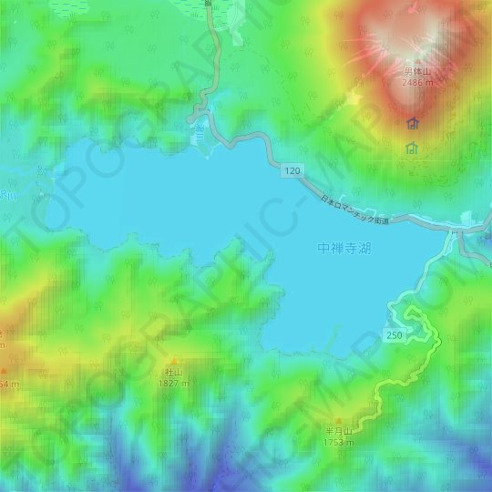 Lake Chuzenji topographic map, relief map, elevations map