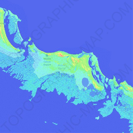 Middle Caicos topographic map, relief, elevation