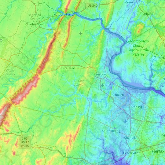 Loudoun County topographic map, elevation, relief
