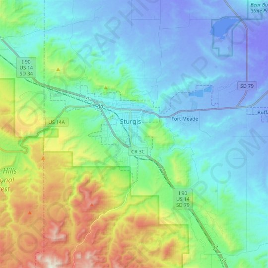 Sturgis topographic map, relief map, elevations map