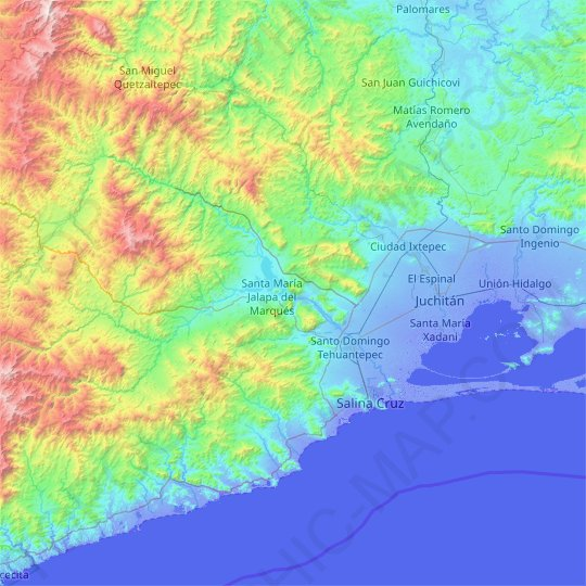Santo Domingo Tehuantepec topographic map, relief map, elevations map