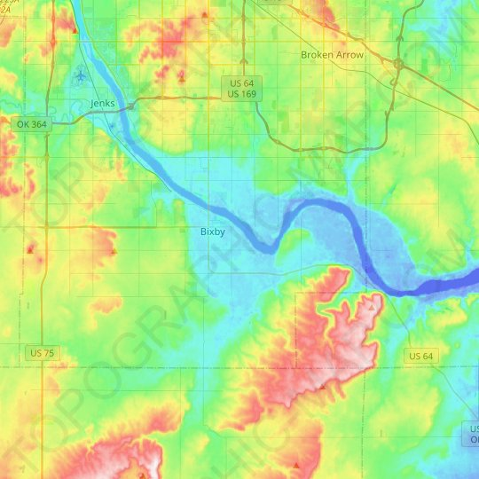 Bixby topographic map, relief map, elevations map