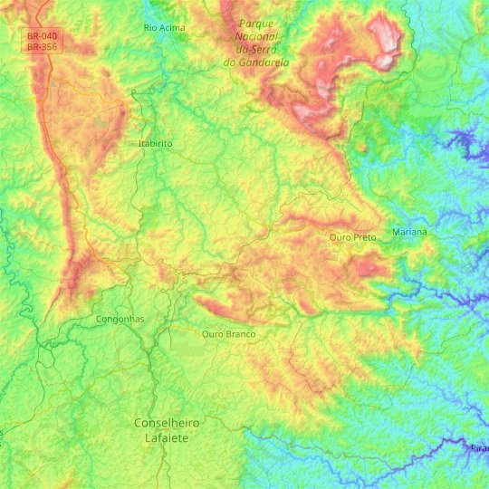 Ouro Preto topographic map, elevation, relief