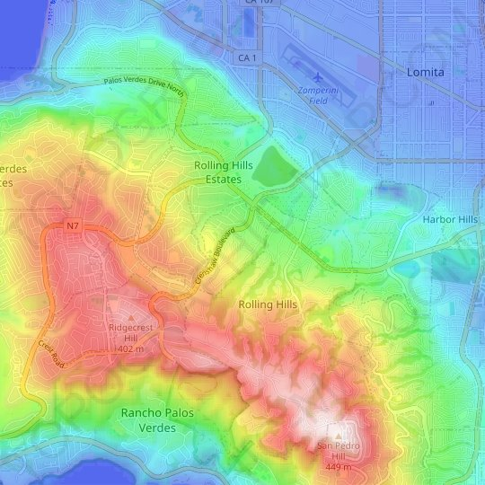 Rolling Hills Estates topographic map, elevation, relief