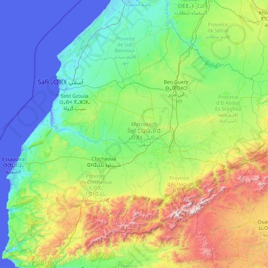 Marrakech-Safi topographic map, relief, elevation