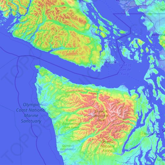 Clallam County topographic map, relief map, elevations map