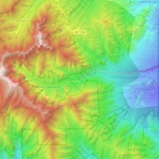 Mount Charleston topographic map, elevation, relief
