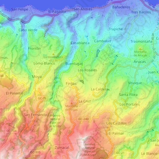 Firgas topographic map, relief map, elevations map