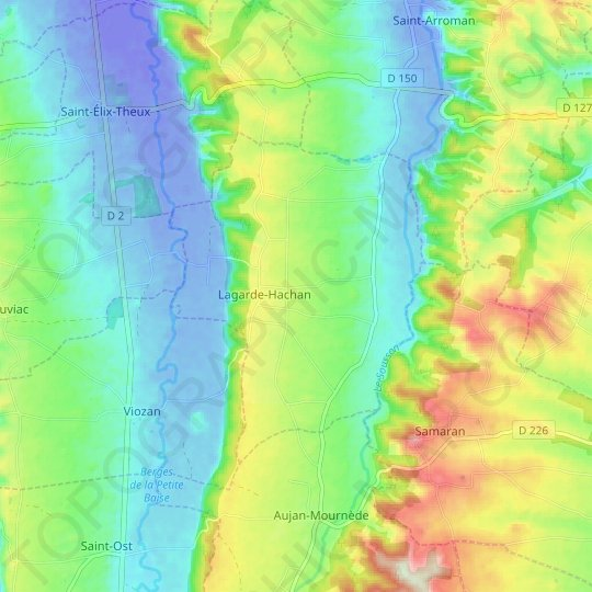 Lagarde-Hachan topographic map, relief map, elevations map