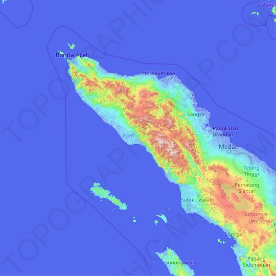 Aceh topographic map, relief map, elevations map