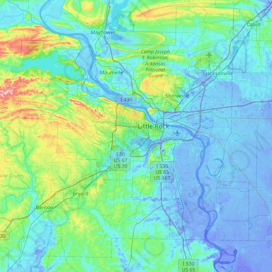 Little Rock topographic map, relief map, elevations map