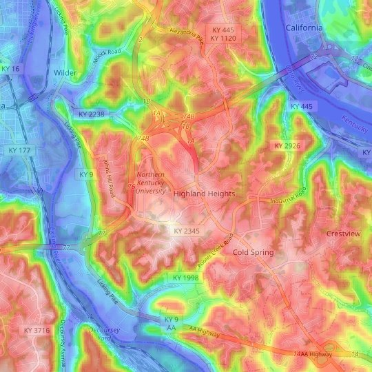 Highland Heights topographic map, relief map, elevations map