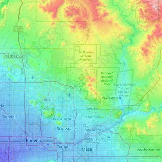 Scottsdale topographic map, relief map, elevations map
