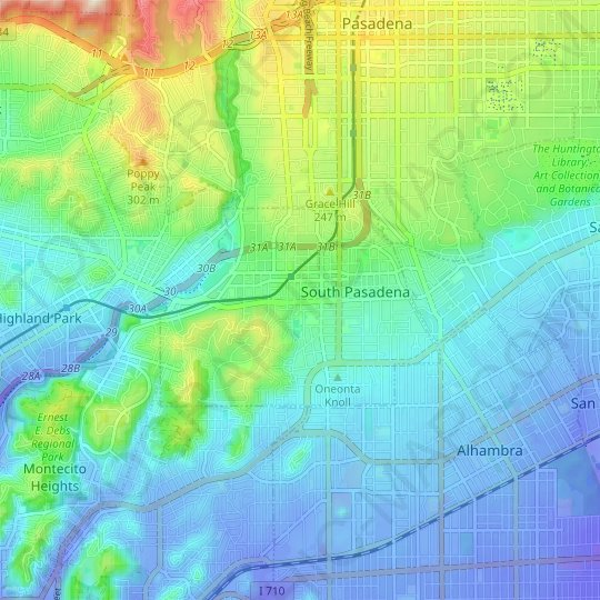 South Pasadena topographic map, elevation, relief