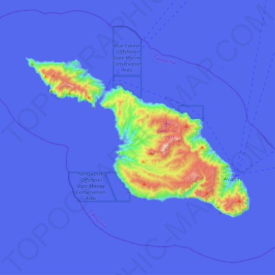 Santa Catalina Island topographic map, elevation, relief