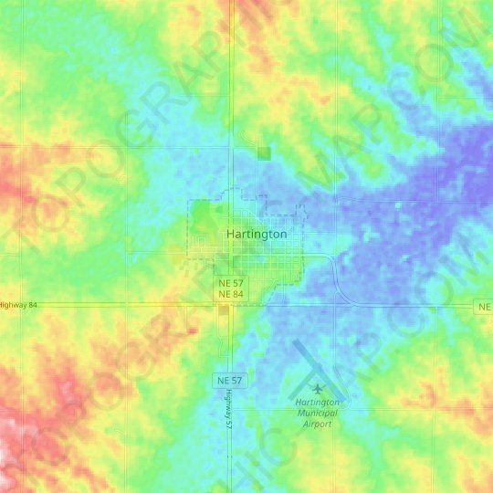 Hartington topographic map, relief map, elevations map