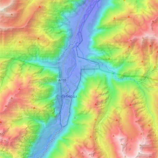Teberda topographic map, relief map, elevations map