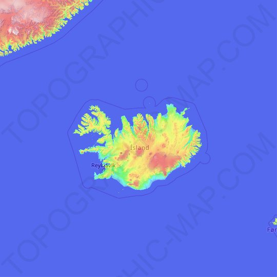 Iceland topographic map, relief map, elevations map