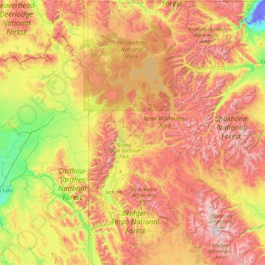Teton County topographic map, elevation, relief