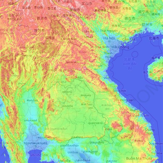 Laos topographic map, relief, elevation