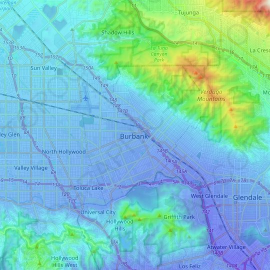 Burbank topographic map, relief map, elevations map