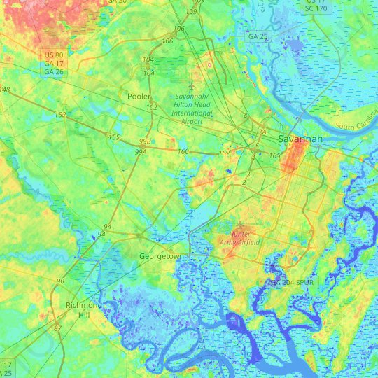 Savannah topographic map, relief map, elevations map