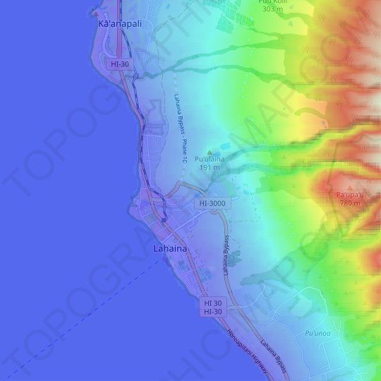 Lahaina topographic map, relief map, elevations map