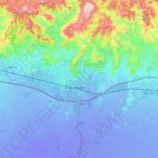 Pakenham topographic map, relief map, elevations map