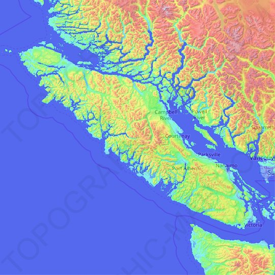 Vancouver Island topographic map, relief map, elevations map