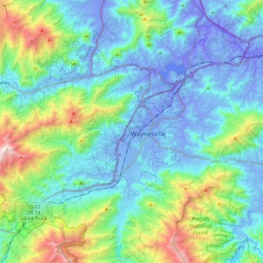 Waynesville topographic map, elevation, relief