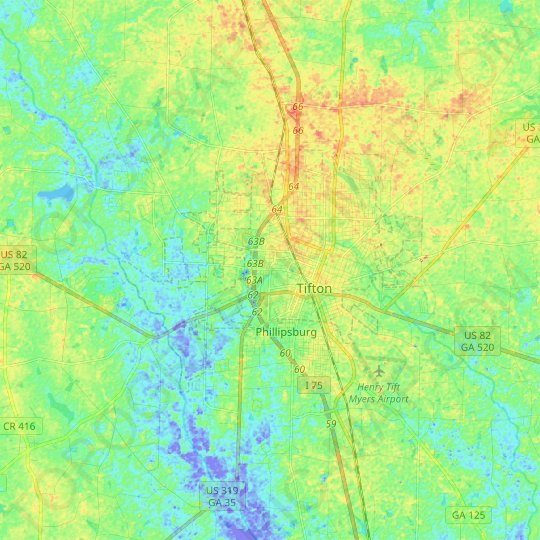 Tifton topographic map, relief map, elevations map
