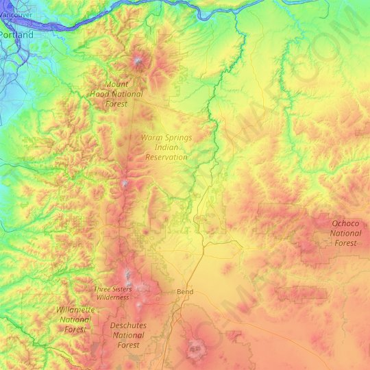 Deschutes River topographic map, relief map, elevations map