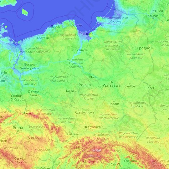 Poland topographic map, relief, elevation
