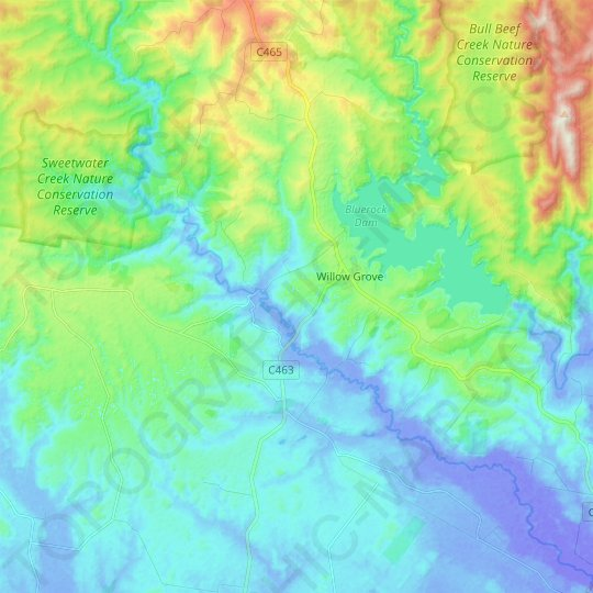 Willow Grove topographic map, relief map, elevations map