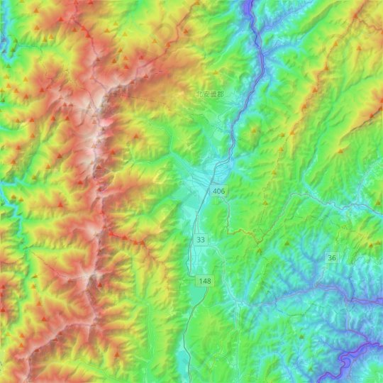 Kitaadumi County topographic map, relief, elevation