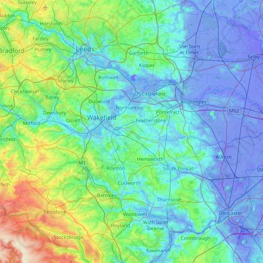 Wakefield topographic map, relief map, elevations map