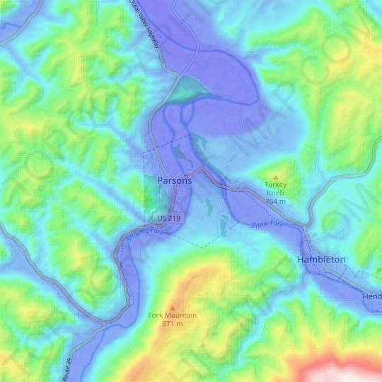 Parsons topographic map, relief map, elevations map