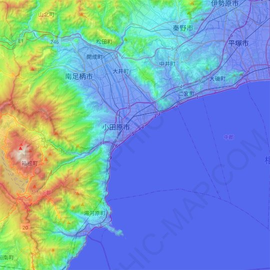 Odawara topographic map, relief map, elevations map