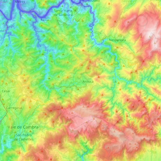 Arouca topographic map, relief map, elevations map