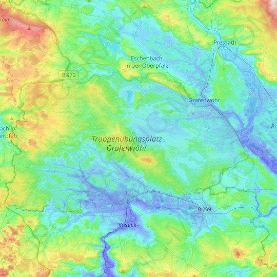 Grafenwöhr topographic map, relief map, elevations map