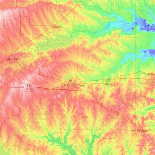Hopkins County topographic map, relief map, elevations map